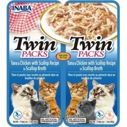 Inaba TWIN PACK CAT - DWUPAK saszetek dla kota kurczak tuńczyk przegrzebki  2 x 40 gr