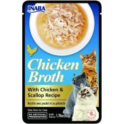 Inaba CHICKEN BROTH Rosół z mięsem z kurczaka i przegrzebkami  dla kota  50 gr